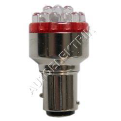 Žárovka LED, 12V/(21W), BA 15s, rudá, spotřeba 1,7W