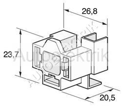 Patice na žárovku H4, úhlová, bílý plast