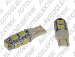 Žárovka LED, 12V, patice T10, bílá, 9LED/SMD