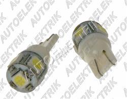 Žárovka LED, 12/24V, patice T10, bílá, 6LED/SMD