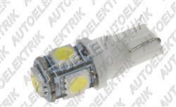 Žárovka LED, 24V/(5W), patice T10, bílá, 5LED/SMD