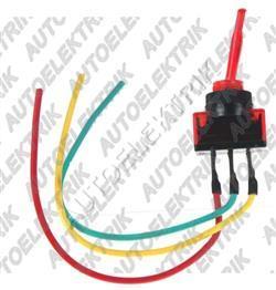 Páčkový vypínač červený s diodou