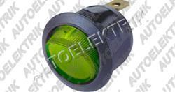 Kolíbkový vypínač zelený s prosvětlením 12V