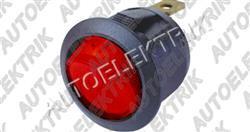 Kolíbkový vypínač červený s prosvětlením 12V