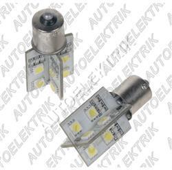 LED žárovka 12V s paticí BA15s bílá, 16LED/3SMD