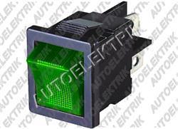 Spínač kolébkový hranatý 10A zelený s podsvícením